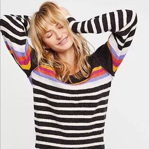 Free people black rainbow striped alpaca sweater M